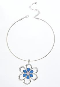 Blue And Pink Flower Pendant Wire Necklace