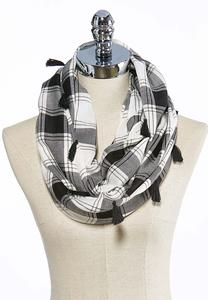 Plaid Tasseled Infinity Scarf
