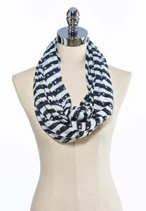 Striped Dot Infinity Scarf