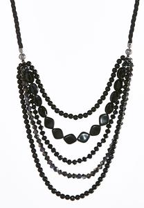 Layered Faux Suede Cord Necklace