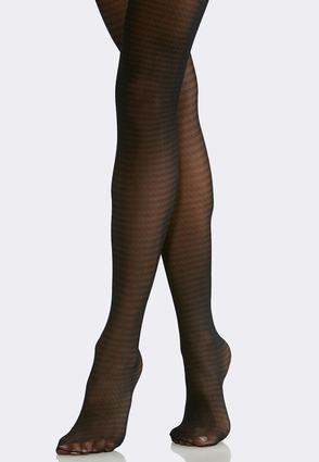 Plus Size Houndstooth Opaque Tights