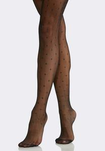 Plus Size Polka Dot Opaque Tights
