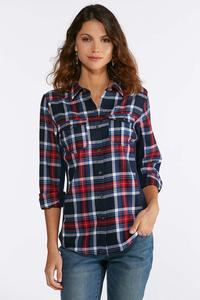 Plus Size Patriotic Plaid Shirt