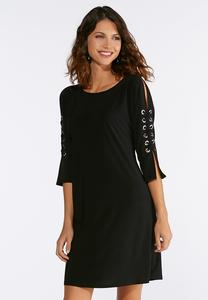 Grommet Sleeve A-line Dress