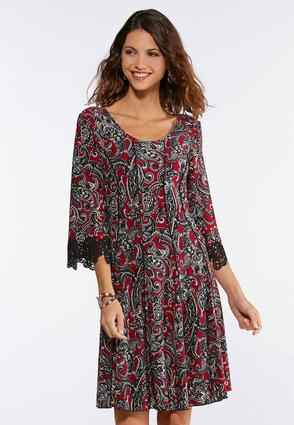 Paisley Seamed Lace Trim Dress
