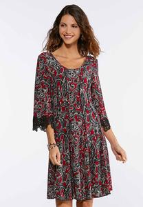 Plus Size Paisley Seamed Lace Trim Dress