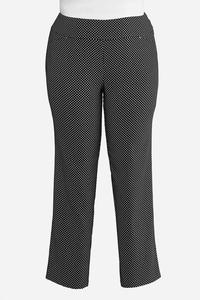 Plus Size Dotted Pull-On Trousers