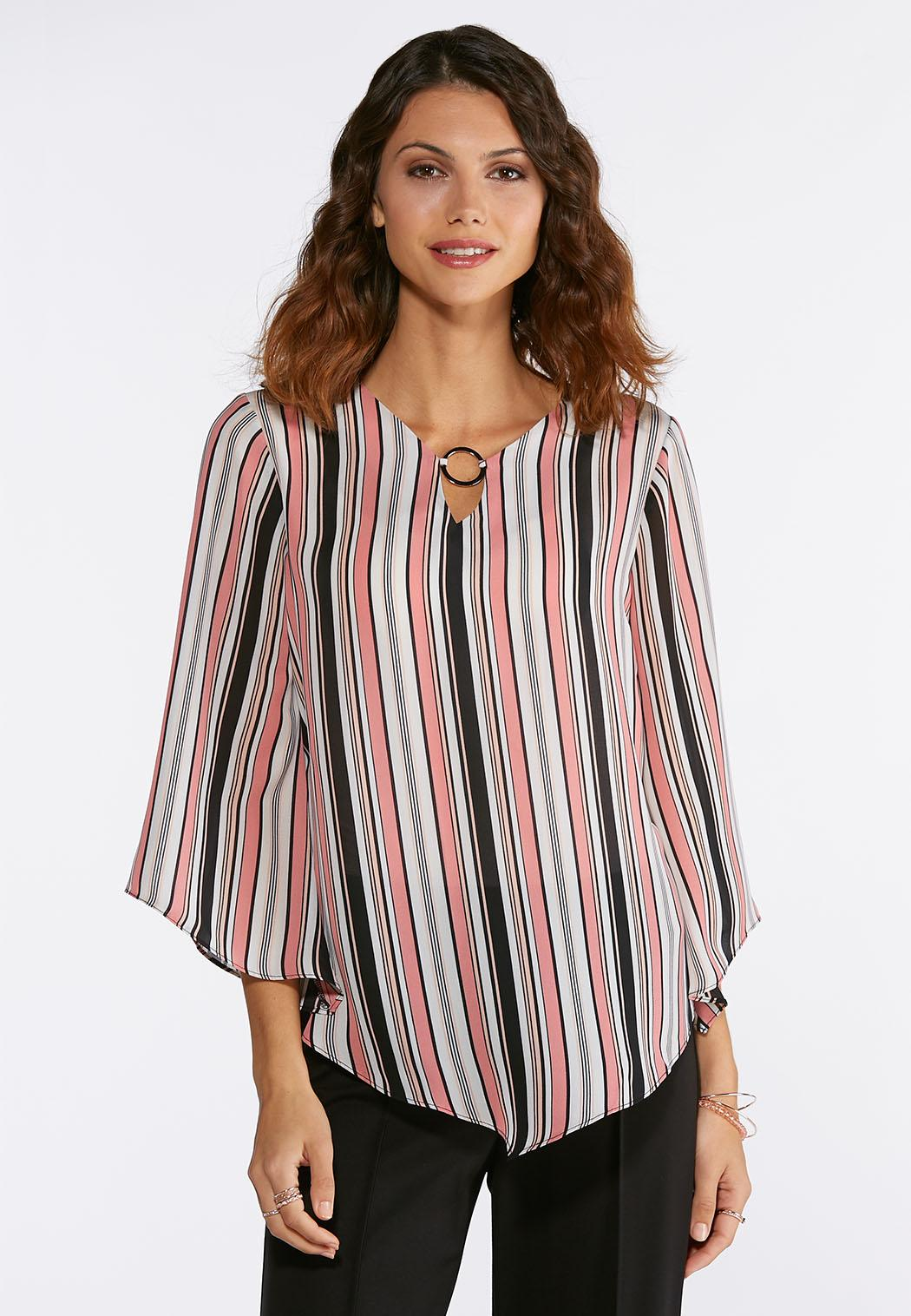 Plus Size Embellished Stripe Top Shirts Blouses Cato Fashions