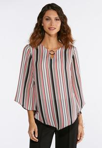 Plus Size Embellished Stripe Top