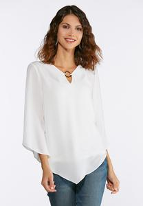 Plus Size Embellished Pointed Hem Top