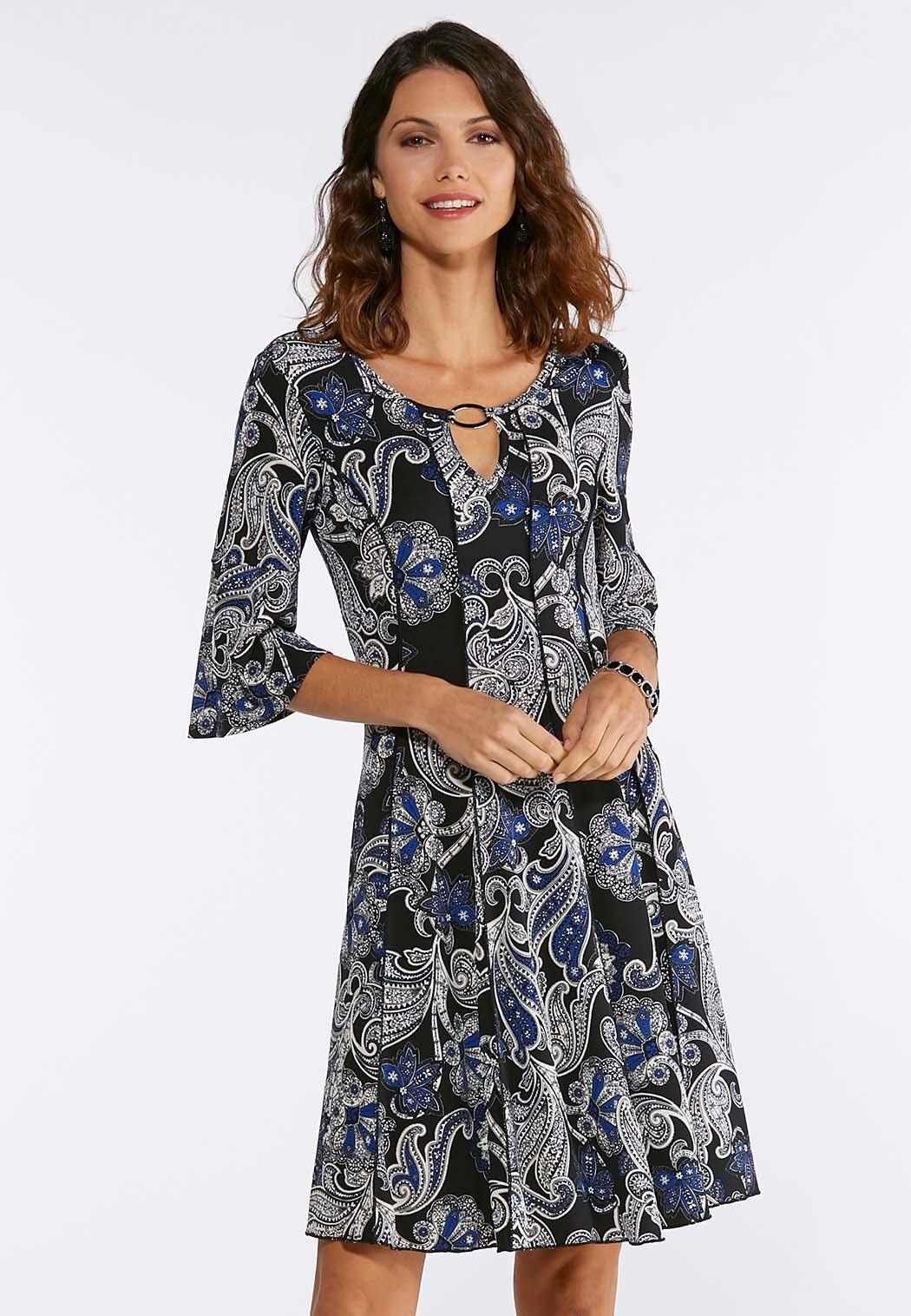 blue puff floral dress a line swing cato fashions