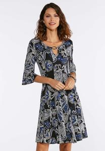 Plus Size Blue Puff Floral Dress