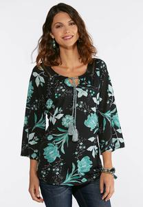 Plus Size Tasseled Floral Top