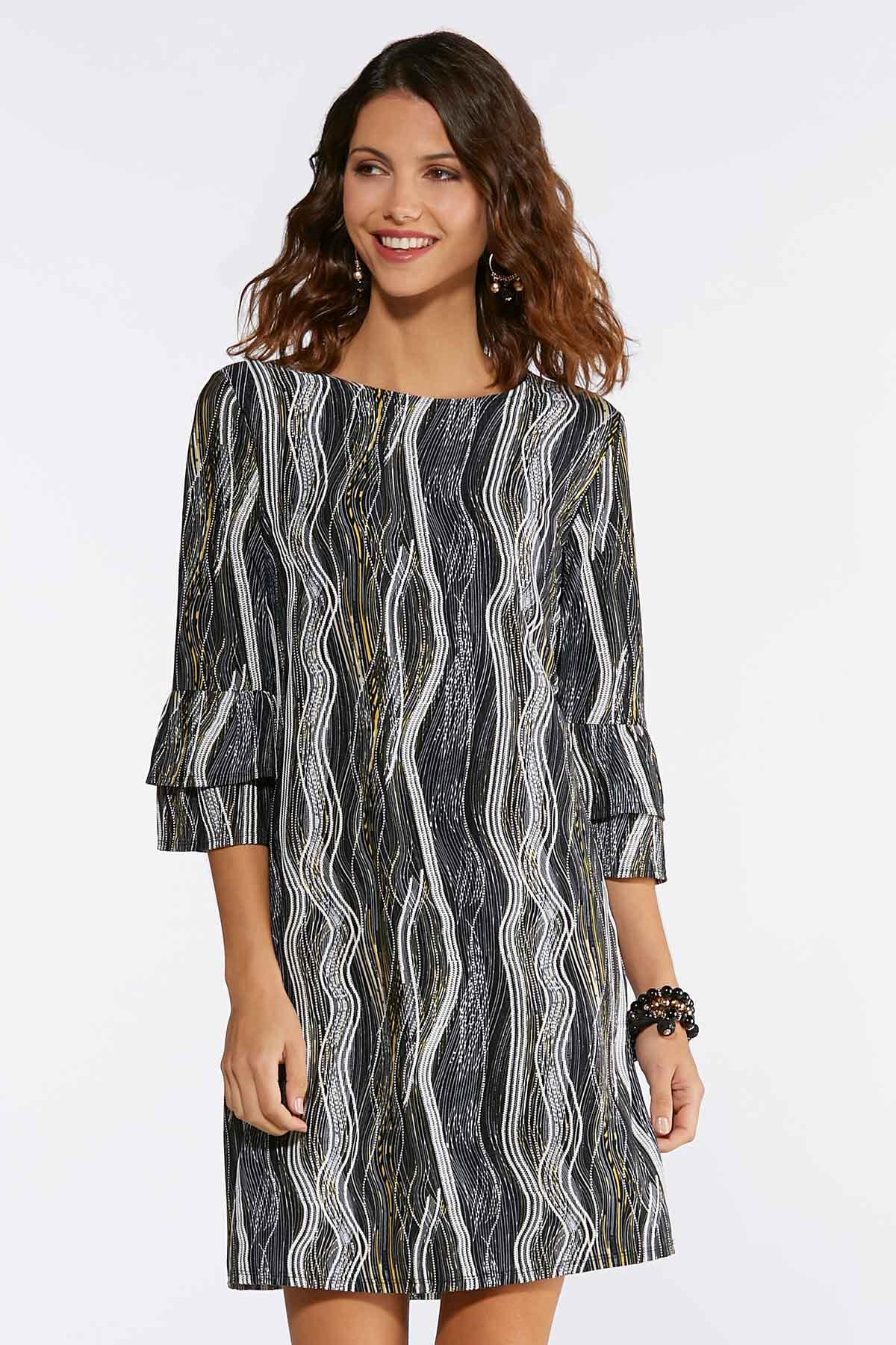 Plus Size Wavy Puff Print Dress