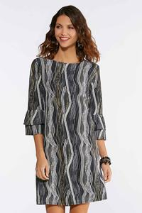 Plus Size Wavy Puff Print Dress