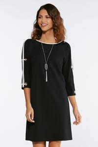 Plus Size Grommet Split Sleeve Dress
