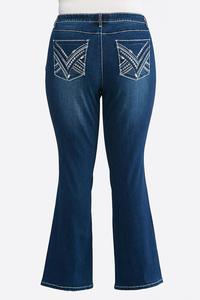 Plus Size Stitch Pocket Jeans