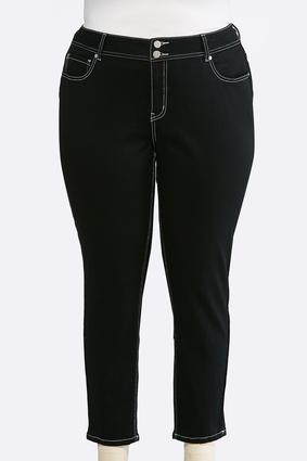 Plus Size Black Wash Skinny Ankle Jeans