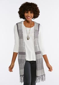 Plus Size Novelty Fringe Sweater Vest