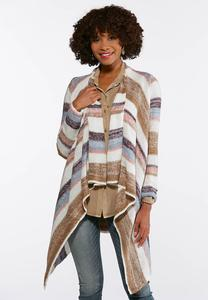 Plus Size Striped Waterfall Cardigan