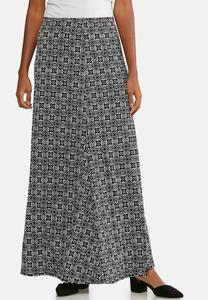 Plus Size Medallion Puff Print Maxi Skirt