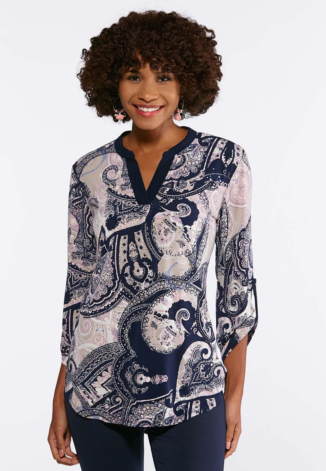 ee9a7657b Navy Paisley V-Neck Top Tees   Knit Tops Cato Fashions