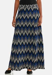 Plus Size Puff Chevron Maxi Skirt