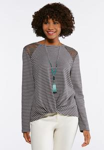 Twisted Lace Stripe Top