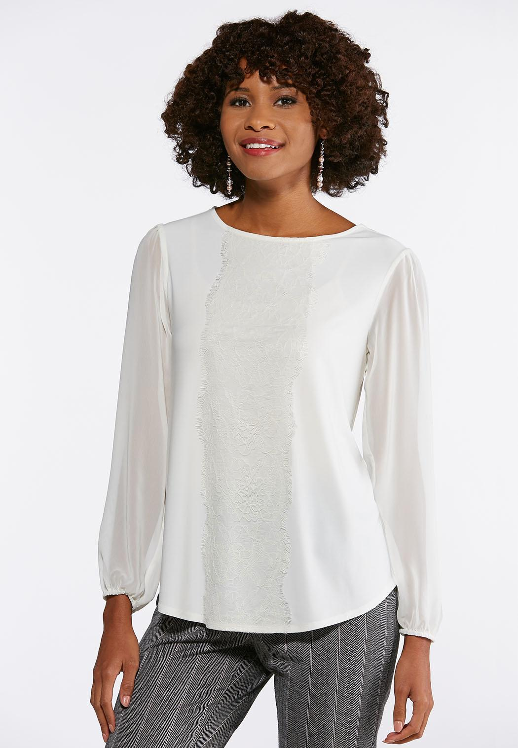 5589762151e Plus Size Lacy Ivory Breeze Top Tees   Knit Tops Cato Fashions