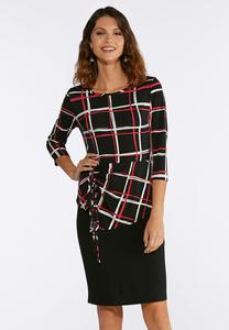 Puff Windowpane Dress