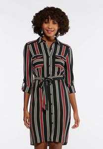 Plus Size Red And Black Stripe Shirt Dress