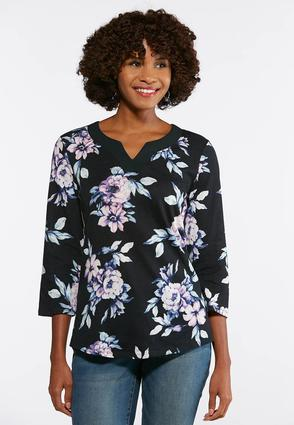 Floral Print Split Neck Top