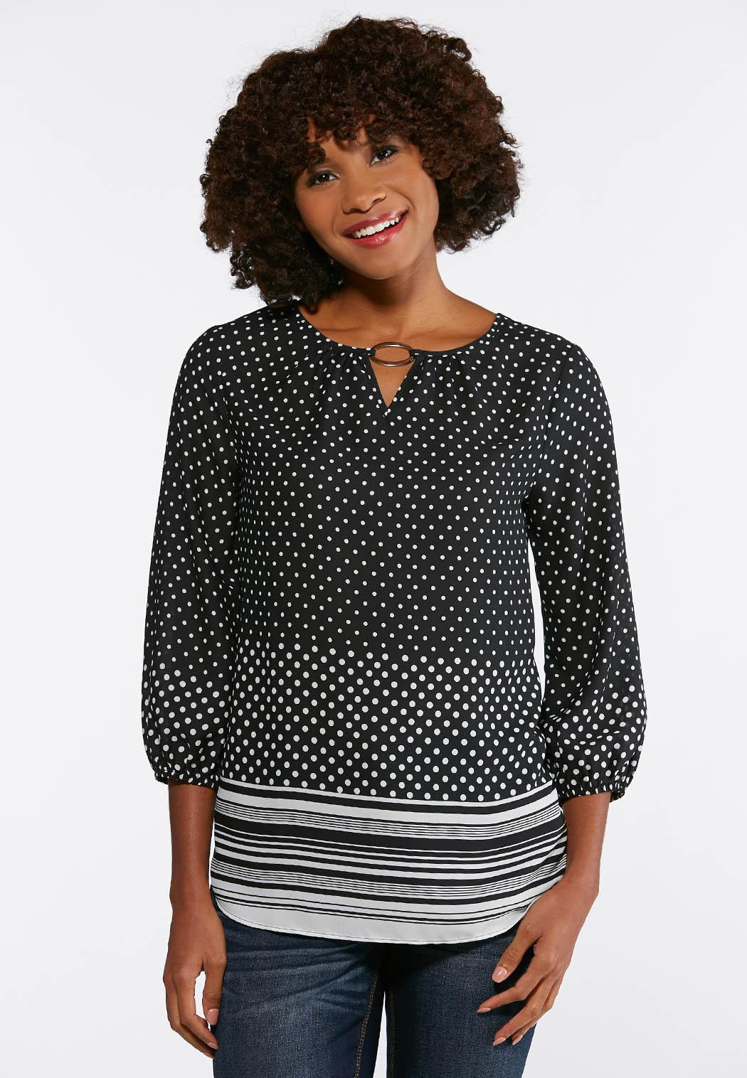 Plus Size Dotted Silver Ring Top Shirts Blouses Cato Fashions