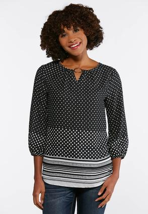 Plus Size Dotted Silver Ring Top