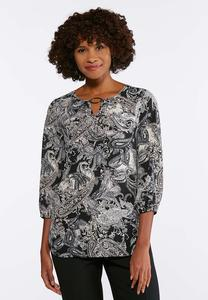 Plus Size Silver Ring Printed Pullover Top