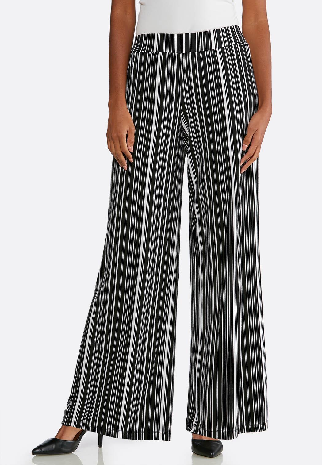 7858858140958 Stripe Crepe Palazzo Pants Wide Leg Cato Fashions