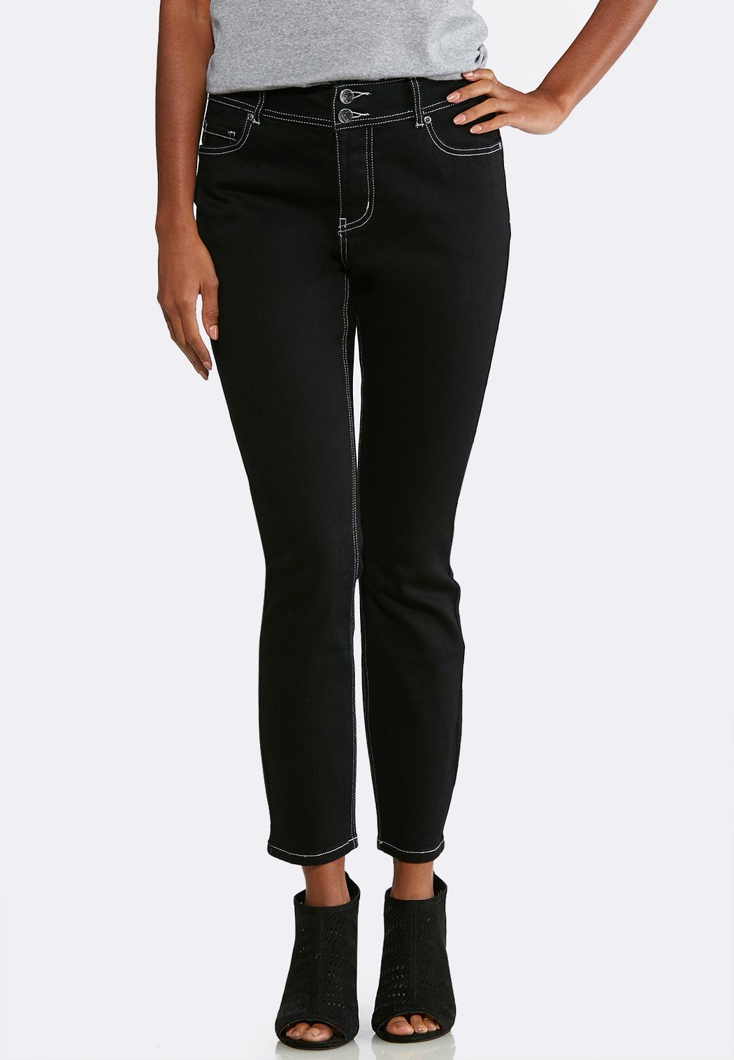 Black Wash Skinny Ankle Jeans