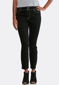 Black Wash Skinny Ankle Jeans