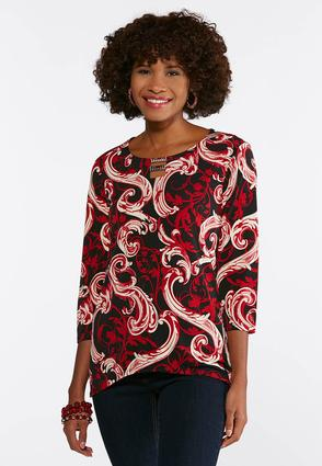 Plus Size Double Bar Puff Print Top