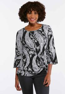 Plus Size Paisley Flutter Sleeve Top