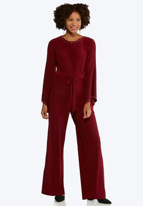 Plus Size Studded Bell Sleeve Jumpsuit