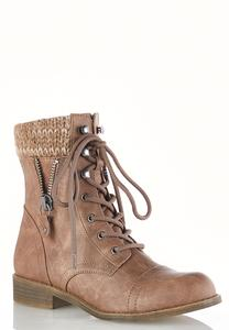 Sweater Cuff Lace Up Boots