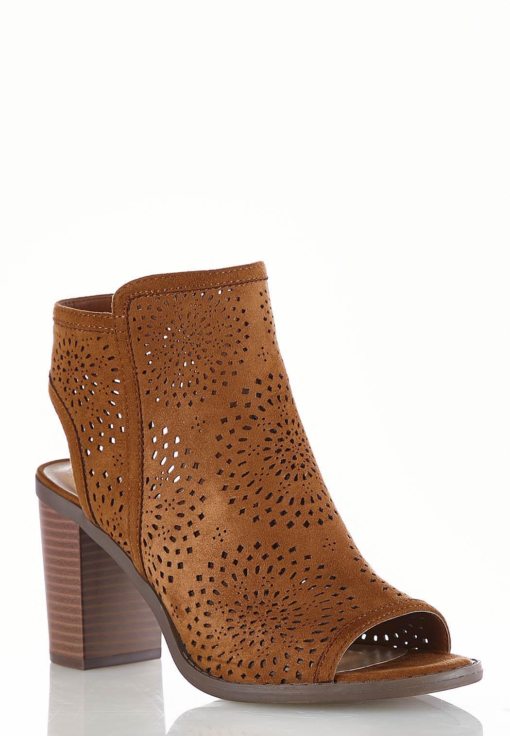 8d1388681ef8 Wide Width Laser Cut Peep Toe Shooties Ankle   Shooties Cato Fashions