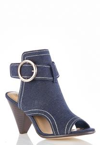 Denim Cone Heel Shooties
