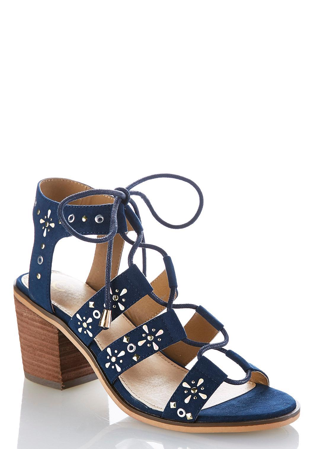 Lace Up Gladiator Heeled Sandals