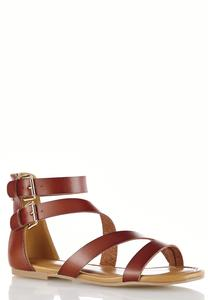 Wide Width Double Buckle Crossband Sandals