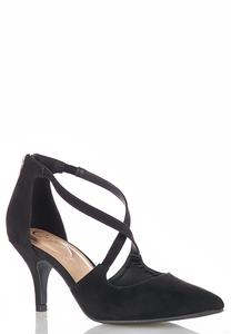 Cross Strap Faux Suede Pumps