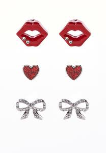 Heart Lips And Bow Earring Set