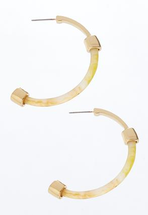 Lucite Metal Open Hoop Earrings