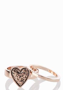 Engraved Band Heart Ring Set